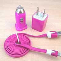 3pcs/Lot!1m USB Cord 1PCS USB Power Adapter Wall Charger and 1Pcs Car Charger For Iphone 5