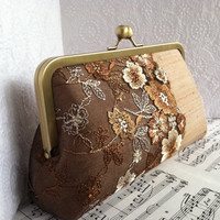 Brown and Caramel silk clutch with floral lace overlay. Silk evening bag