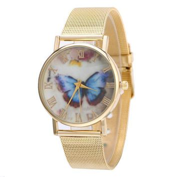 Fashion Women Gold Stainless Steel Analog Quartz Wrist Watch