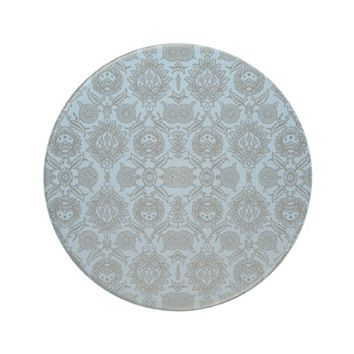 Light Blue and Gray Vintage Floral Sandstone Coaster