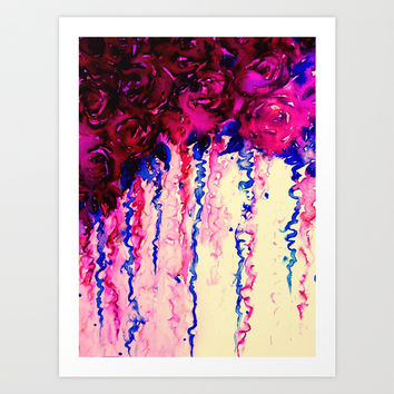 PETALS ON PARADE, Oxblood Marsala Red Royal Blue Floral Abstract Watercolor Roses Flowers Painting Art Print by EbiEmporium