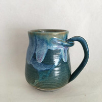 Green/Blue Ceramic Mug, Pottery Cup, Handmade Coffee Mug,  14 oz MJUL17GB5