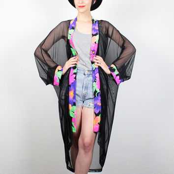 Vintage 80s Beach Cover Up SHEER Black Mesh Neon Floral Print Trim Kimono Jacket 1980s New Wave Robe Duster Jacket S M Medium L Large XL