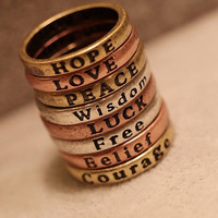 R1351 HOPE LOVE LUCK PEACE Free Belief Wisdom Courage 8pcs/set Rings Size 6 NEW