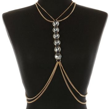 Chunky Glass Stone Necklace And Body Chain 73