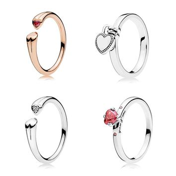 2018 New Love Lock Two Hearts Open Ring You & Me Crystal 925 Sterling Silver Ring For Women Gift Valentine's Day Pandora Jewelry