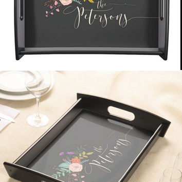 Personalized Serving Tray, Custom Wood Tray - Unique Gift for Couple, Gift for Newlyweds, Housewarming Gift - The Elizabeth