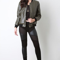 Vegan Leather Bomber Jacket