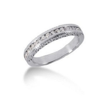 0.26ct. Vintage Style Diamond channel set wedding band in 14k white gold