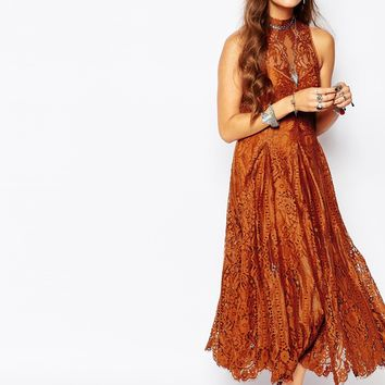 Free People Angel Rays Lace Trapeze Midi Dress in Copper