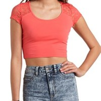 Short Sleeve Lace Crop Top by Charlotte Russe - Coral