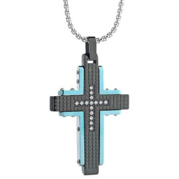 Metro Jewelry Stainless Steel Textured Pendant Blue IP Accents CZ