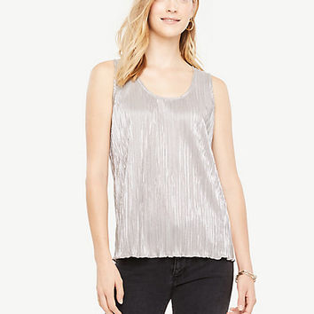 Shimmer Pleated Shell | Ann Taylor