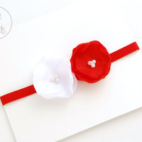 RED Baby Headband, newborn Headband, Red White Baby girl Headband, Baptism Headband, Baby Headbands, Infant Headband, Baby Flower girl, Baby