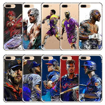 American Football Baseball Boxing Volleyball ice hockey player sport star cell cover soft phone case for iphone X 8 7 6 5 5s 6s