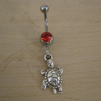 Belly Button Ring - Body Jewelry - Silver Turtle with Red Gem Stone Belly Button Ring