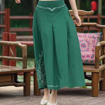 2016 Summer Women National Art Wind Elastic Waist Embroidered Skirts Embroidery A-line Casual Ankle-length Long Skirts Womens