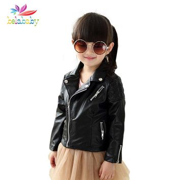 Belababy Spring Autumn Kids Jacket PU Leather Girls Jackets Clothes Children Outwear For Baby Girls Boys Clothing Coats Costume