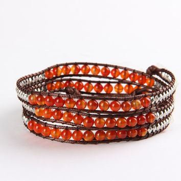 Fashion Vintage Style Hand Weaving Leather Charms Friendship Bracelet Red Onyx
