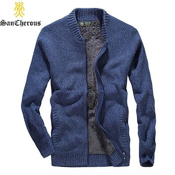 2019 Winter Fleece Thick Man Sweaters 4 Color V-Neck Men Pullover Outwear Knitting Man Warm Coat