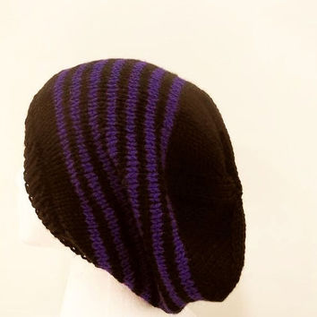 Knitted slouchy beanie hat, black with  purple stripes, handmade   5060