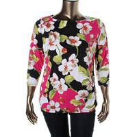 JM Collection Womens Petites Floral Print Metallic Pullover Top