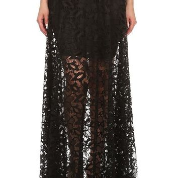 Lace Relaxed Fit A-Line Maxi Skirt