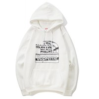 The North Face X Supreme Popular Women Men Casual Print Long Sleeve Hoodie Sweater Sweatshirt Top White I12690-1