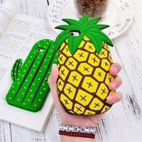 Cute Plant Cactus Pineapple Ice Cream Soft Rubber Case For iPhone 7 6 6S Plus 5 5S SE 3D Silicone Funny Back Cover Coque Capa