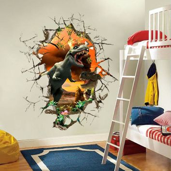 3d dinosaur Wall Stickers Decals for kids rooms Art for Baby Nursery Room Home Decoration Kids Cartoon Poster christmas gift