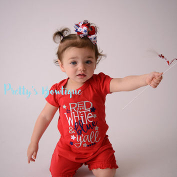 4th of July Baby Girl Summer Romper- Fourth of July girls shirt -- Girls outfit bodysuit/shirt/romper-- Red white & Blue y'all