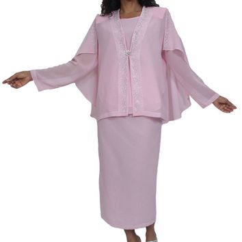 Hosanna 5012 Plus Size 3 Piece Set Pink Tea Length Dress