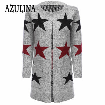 AZULINA Cashmere Cardigans Women Winter Long Coat Black Star Pattern Female Cardigan Knitted Sweater Ladies Open Stitch Spring