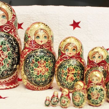 Russian Nesting Dolls Set Of 10 Signed By Ceprueb Nocag