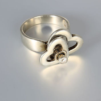 Modernist kinetic Diamond Heart ring, Sterling silver size 8 ring, designer jewelry