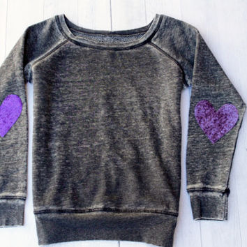 Sequin Sparkly Elbow Patch Sweatshirt Jumper Acid Gray Women Fashion Slouchy Wide Neck Off the Shoulder Pinterest Tumblr Plus Size Available