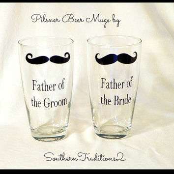 Father of the Bride or Groom Men's Personalized Mustache Pilsner Beer Mug Stein Groom Glasses Glass -- Wedding Favor