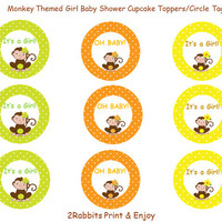 Monkey Themed Girl  Baby Shower- Cupcake Toppers- Gift Tags- Printable Baby Shower- Instant Digital Printable - Monkey with a Flower