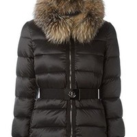 MONCLER 'Tatie' Hooded Fur-Trim Puffer Women's Jacket