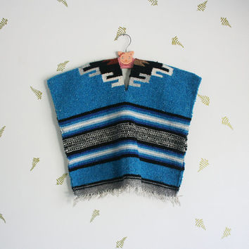 vintage children's poncho / mexican blanket / fringe / bohemian / woven / pullover / fall + winter / 4 - 8