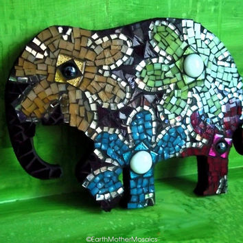 CIJ Sale Elephant Mosaic Wall Art: Stained Glass, Flowers, Wall Hanging, Hippie, Bohemian