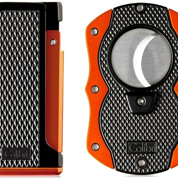 Colibri Monza Orange Lighter and Cigar Cutter Gift Set