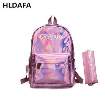 2018 New women hologram backpack laser daypacks girl school bag female silver pu leather holographic bags mochila Send a packet