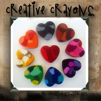HEARTS - shaped crayons - birthday party favors - baby shower favors - christmas stocking stuffers