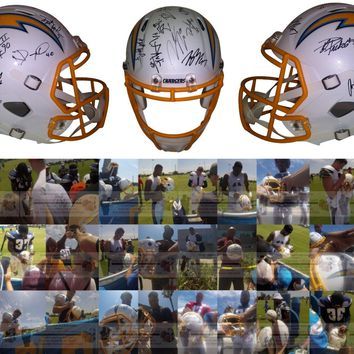 2019 L.A. Chargers Team Autographed Riddell Full Size Football Helmet, Proof Photos