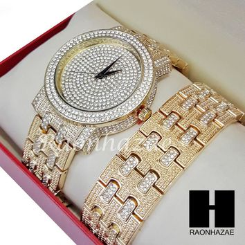 TECHNO PAVE ICED SET ICED OUT RAPPER 14K GOLD PT WATCH ICED OUT BRACELET SET L27