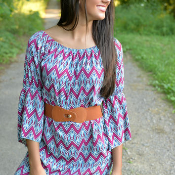 Magenta Zig Zag Belted Tunic Dress