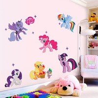 Lovely Cartoon Little Pony Wall Stickers for Kids Rooms Wall Decals Girls Children Nursery Baby Room Decor Wallpaper Mural Gift