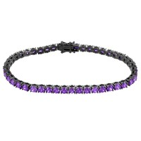 Purple Simulated Diamonds 4mm Tennis Bracelet