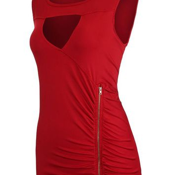 Casual Ruched Zips Keyhole Solid Sleeveless T-Shirt